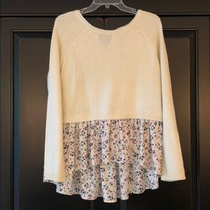 🌺 Lauren Conrad Cropped Sweater with Floral Shirt